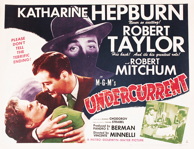 "Robert Taylor stars with Katharine Hepburn in ""Undercurrent"" (1946)"